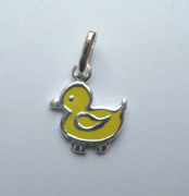 Sterling Silver Enamelled Kids extra small Yellow duck pendant